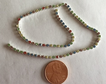 SS6.5 Light Multi (various pastels) 2.00 - 2.10 mm Crystal Rhinestone Banding Chain - High Quality Czech Stones - Radiant!