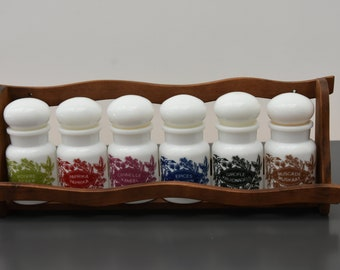 set of 6 jars with spices with airtight lid and support original Belgium, 1960s, kitsch vintage retro, model deposited
