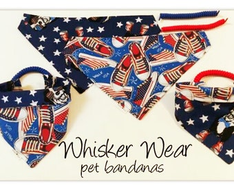 dog scarf, pet bandana, pet scarf, dog bandana, pet clothing, pet attire, fourth of july, bandana, pet wear, USA, America, red white blue