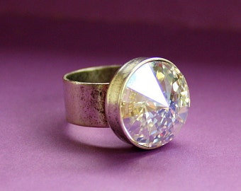 Crystal Bling Ring - Adjustable Ring - Epoxy Clay and Crystal Rivoli