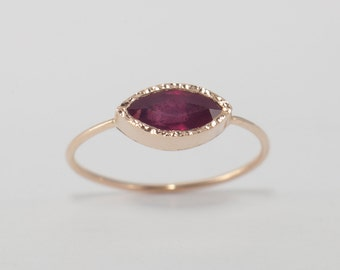 Ruby Ring , Ruby Engagement Ring, Marquise, Gemstone Ring, July birthstone, Anniversary Ring, Gift for Woman