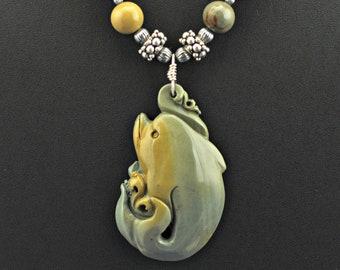 Succor Creek Jasper Carved Dolphin Wild Horse Jasper .925 Silver Necklace