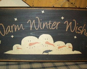 WARM WINTER WISHES primitive sign