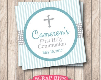 Printable First Communion Tags in Blue & Grey . Personalized Communion Favor Tags