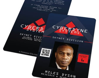 Custom ID Card Badge: Cyberdyne Terminator 2, Skynet, Cyberdyne, Cosplay Costume Gift, Birthday, Christmas, Sci-fi
