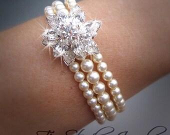 TAMARA -  Multi Strand Swarovski Pearl Bracelet with Rhinestone Crystal Flower