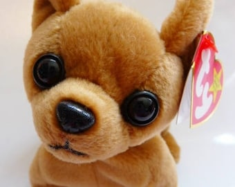 TY Original Beanie Baby Tiny the chihuahua | retired dated | DOB 9. 8. 98. | tag errors | mint collectible