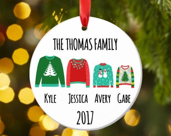 Family Christmas ornament, UGLY SWEATER ornament, Family gift, Personalized family Christmas ornament, ugly sweater christmas gift