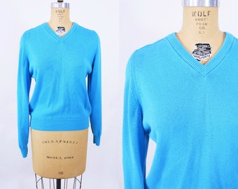 """ANNIVERSARY SALE // 1960s blue sweater   v neck Lady Pickering sweater   vintage 60s sweater   W 20""""+"""