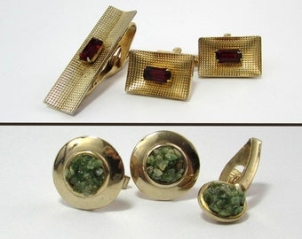 Mens Cuff Links & Tie Clip Sets - Gold tone - one with red and one with green accents - 1960s