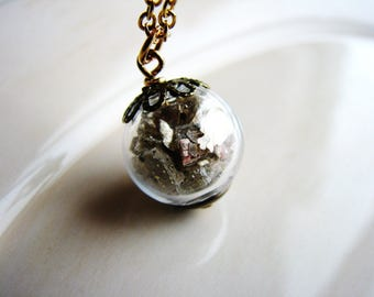 Glass Globe Necklace, Terrarium Necklace, Mica Necklace, Geology Jewelry