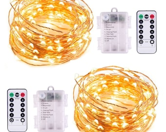 2 Pack Fairy Lights Battery Operated Lights 8 Modes 50 LED 16 ft Fairy String Lights Remote Timer Warm White