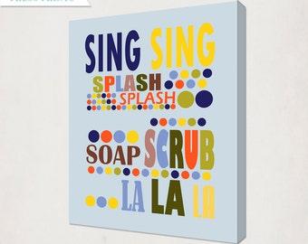 Kid's Bathroom Art Canvas // Polka Dot Bathroom Art Canvas // Home Decor Bathroom Art // Bathroom Wall Art // Blue Bathroom Art