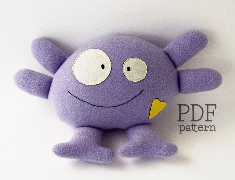 Alien pattern stuffed animal sewing pattern cute plushie