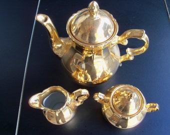 Golden Crown Osborne Tea Pot Creamer & Sugar