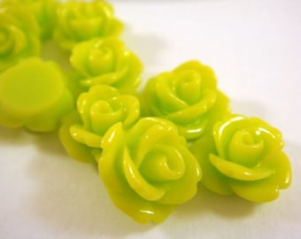 BOGO 10 Green Rose Flower Cabochon Lime Green Resin Bead 10mm - No Hole - 10 pc - CA2006-LG10 - Buy 1, Get 1 Free - No coupon required