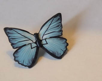 Blue butterfly polymer clay brooch
