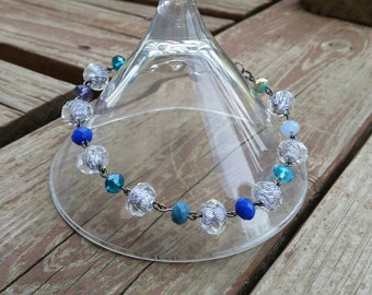 Blue Crystal Bead Bracelet or Anklet - Handmade Fashion Jewelry - Statement Accessories - Chain Link Bracelet gifts - Oversize clasp