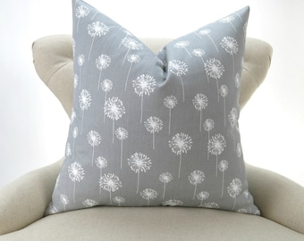 Throw Pillow Cover, Gray White Cushion Cover, Accent Pillow, Euro Sham, Decorative Throw -MANY SIZES- Dandelion Storm, Premier Prints