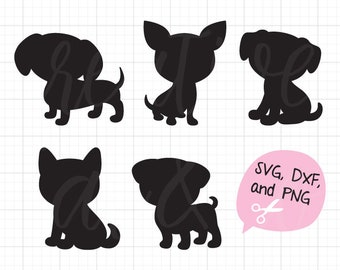 Dog Silhouette SVG DXF Files for Cricut and Silhouette Puppy Silhouette SVG Cute Dog Silhouette Cut File svg dxf png