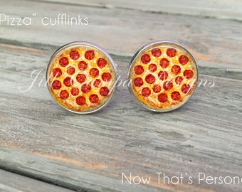 CUFFLINKS, PIZZA cufflinks, Pepperoni Pizza Cufflinks, groom cufflinks, men's cuff links