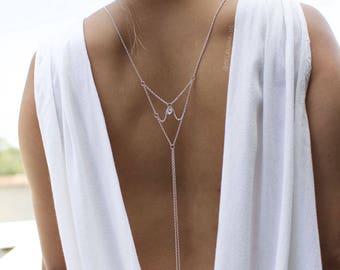 La Luna - Back Necklace (BN-02S) Silver