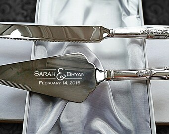 High quality,  Mirror polished Cake Knife & Slice Server Set | Engraved with names, date, message or logo