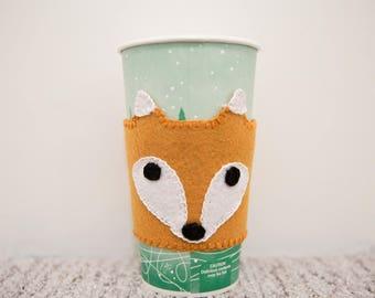 Felt Fox Coffee Sleeve, Reusable Coffee Sleeve, Coffee Cozy, Coffee Coozie, Cute Coffee Cup Sleeve