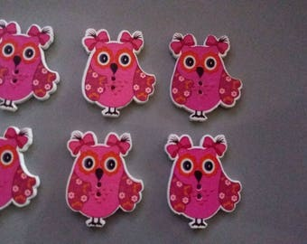 set of 6 cute wooden OWL buttons