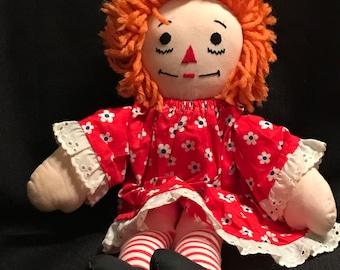 Vintage Doll Raggedy Ann Doll Vintage Rag Dolls Retro 1970's Raggedy Ann