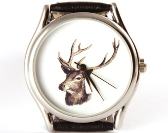 Watch, deer watch, vintage syle leaher watch, men's watch, women watch, for hunter, gift