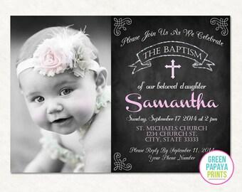 Printable Girl's Baptism Invitation - Christening Invite - Dedication - Church - Godparents - Photo Invite - Printable - Pink - Girl