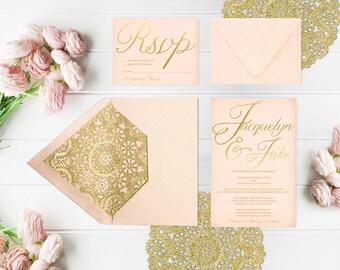 Blush & Gold Wedding Invitations / PRINTED Wedding Cards w/ RSVP Cards