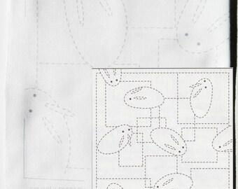 Olympus Sashiko Kit | Pre-printed Sashiko Fabric Pattern Sampler, Embroidery Kit -  Bunny Usagi (No 42) on White Fabric
