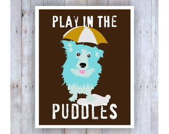 Kids Bedroom Art, Cute Dog Decor, Play in the Puddles, Corgi Art, Umbrella Art, Blue Dog Art, Go Outside and Play,Rainy Day, Yellow Umbrella