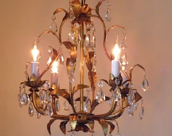 Vintage Chandelier Antique Chandelier Italian Design Golden Florentine Finish 4 Lights Crystal Prisms so Romantic! by LightsFantastic