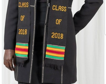 CLASS OF 2018 Handwoven authentic Kente Graduation Stole