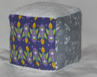 Gray Outer Space Rockets Fabric Boutique Block Rattle Toy - SALE