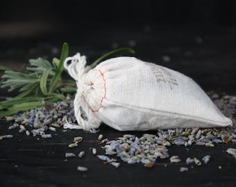LAVENDER SACHET set of 3 muslin bags of pure lavender buds, lavender buds, lavender hostess gift, drawer sachet, lavender drawer sachet