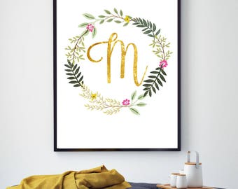 Gold Initial Poster, Monogram, Personalised Letter Print, Gold Letter Art, Customised Art Print, Initial Floral, Printable, Your Initial