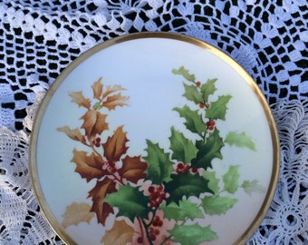 Antique Limoges Christmas Holly Berry Plate - Signed