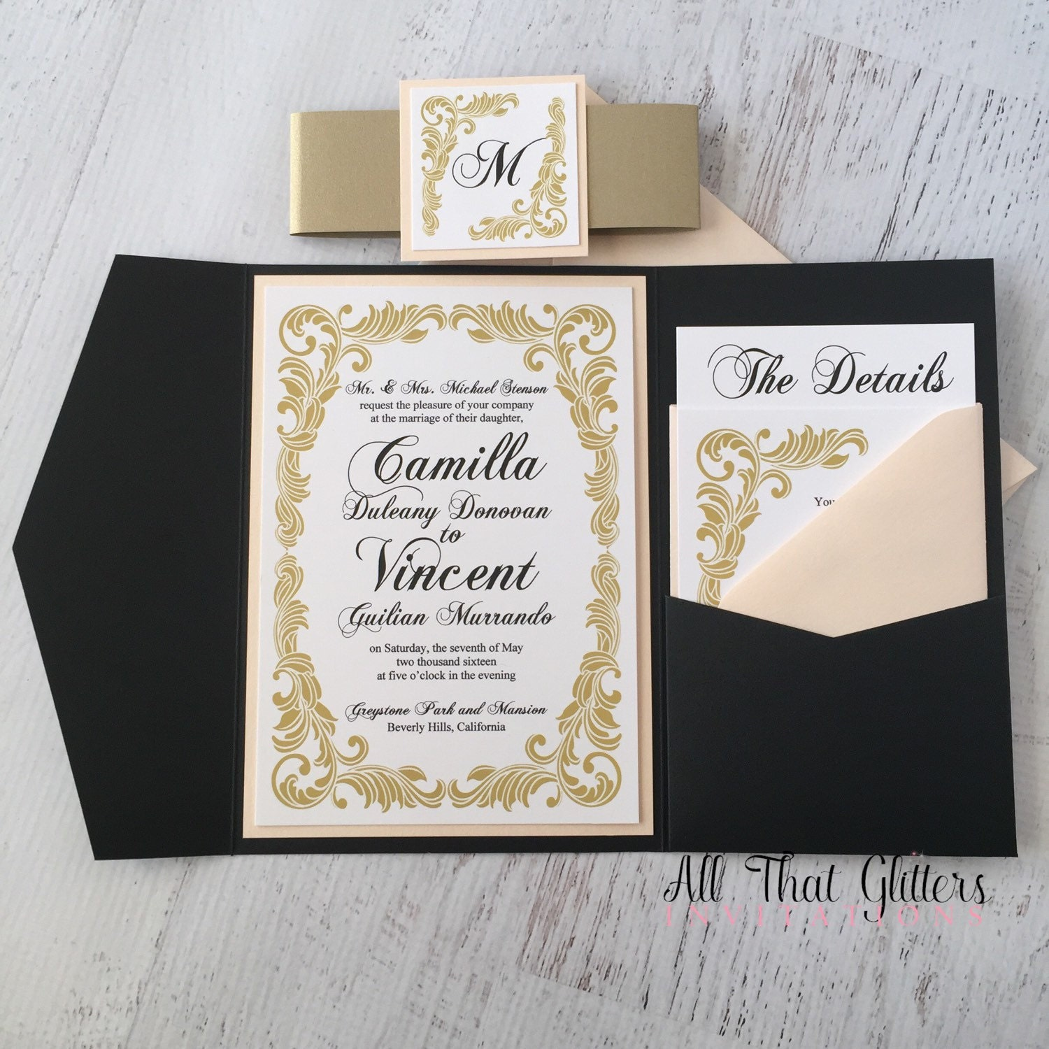Vintage Wedding Invitations: Gold Vintage Wedding Invitation Suite Pocketfolder Wedding