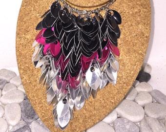 "Cascading ""Bib"" Necklace --Rock 'n Roll Black, Pink & Silver"