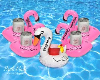 Personalized Bachelorette Party Flamingo Drink Floats, Swan Beverage Boats, Pool float, Flamingo Float, Bridesmaid gift, Bachelorette Gift
