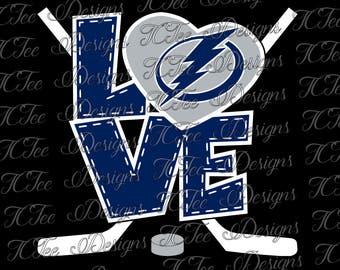 Love Lightning - Tampa Bay Lightning - Hockey SVG File - Vector Design Download - Cut File