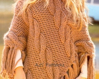 PDF Knitting pattern for a Bigga Knit Cabled Poncho - Instant Download