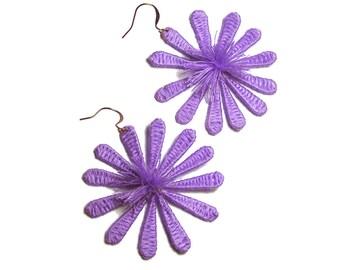 Purple Flower Earrings Handmade Flower Earrings Boho Flower Earrings Floral Earrings Cute Earrings Boho Jewelry