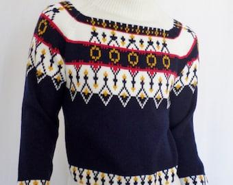 Vintage 1970's Men's JCPenney Scandinavian NOrdiC HiPPiE HiPsTeR TrEnDy FaiRIsLe SKi Sweater M