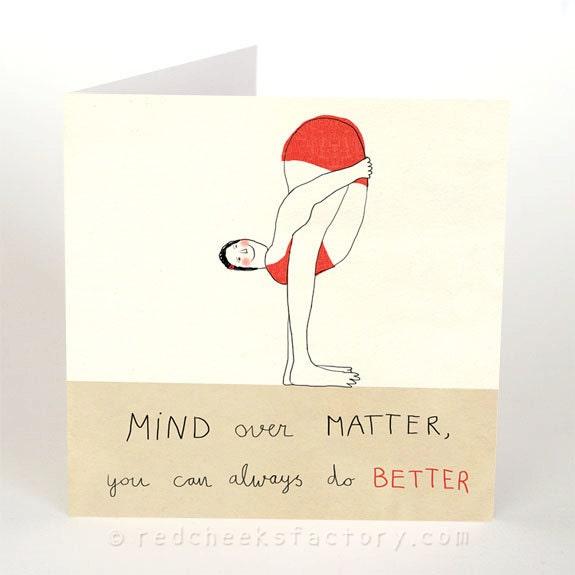 Yoga postcard mind over matter yoga greeting card yoga zoom m4hsunfo