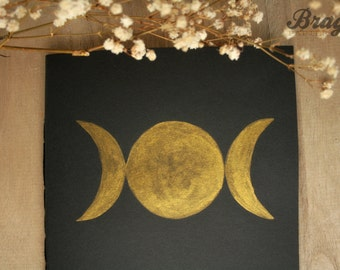 Goddess Moon Notebook  * Black Journal * Black and Gold * Magic Diary * Feminism * Empowering *Moon child *  Moon